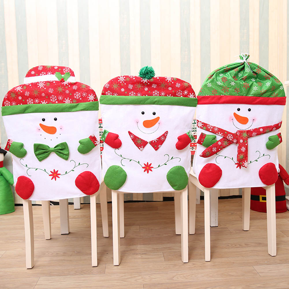 1 Pieces New Christmas Chair Covers Cute Chair Back Covers Christmas Party Table Christmas Snowman Gift Dinner Decor