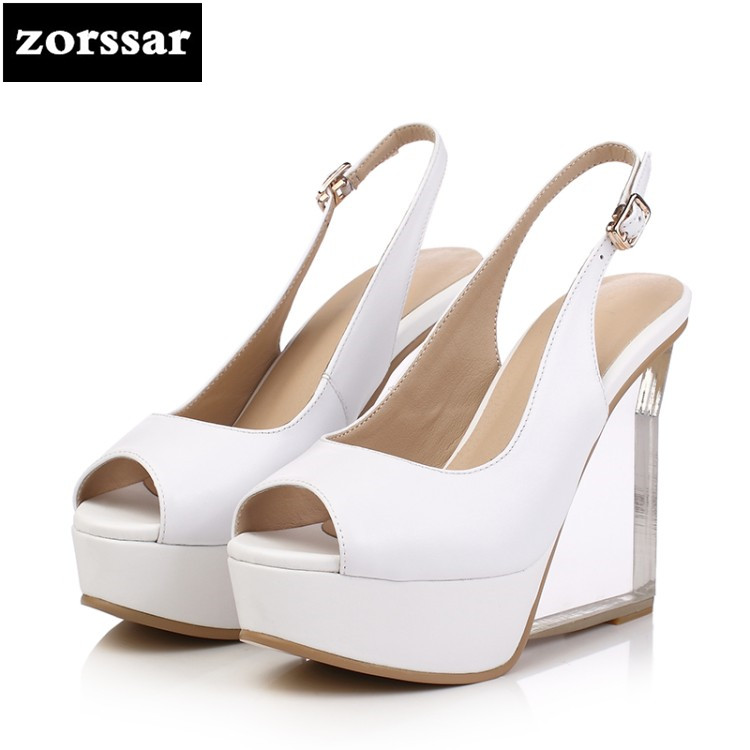 {Zorssar} 2018 New arrival fashion Genuine Leather womens Slingbacks shoes Wedges Peep toe High heels sandals platform pumps summer shoes women casual platform rhinestone high heels wedges sandals woman 2017 fashion genuine leather womens peep toe pumps