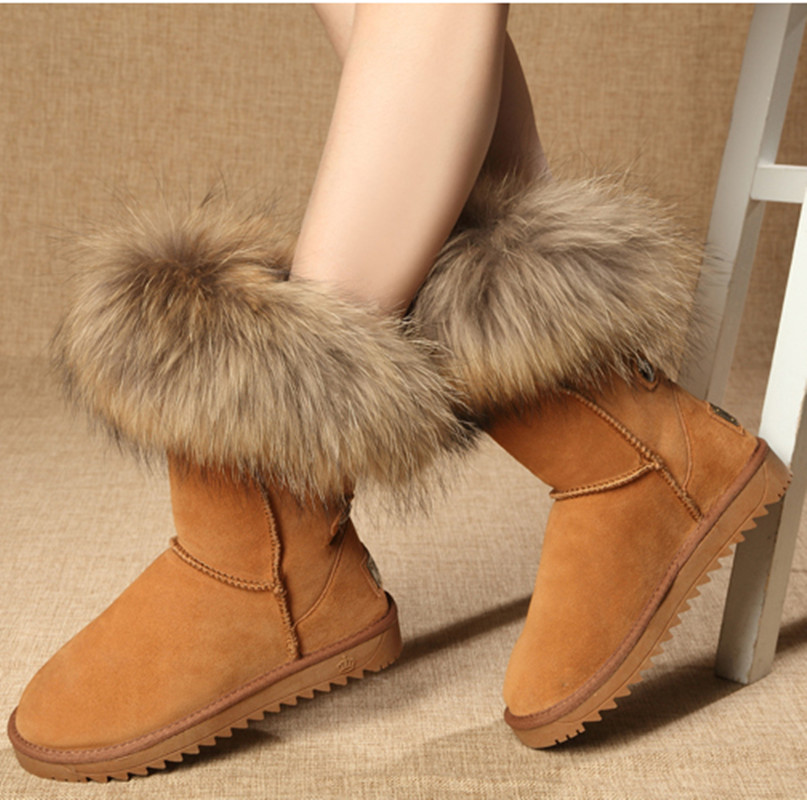 Nubuck Leather MediumTube Large Fox Fur Snow Boots Women Female Genuine Leather Boots Winter Women's Shoes Racoon Fur Boorts