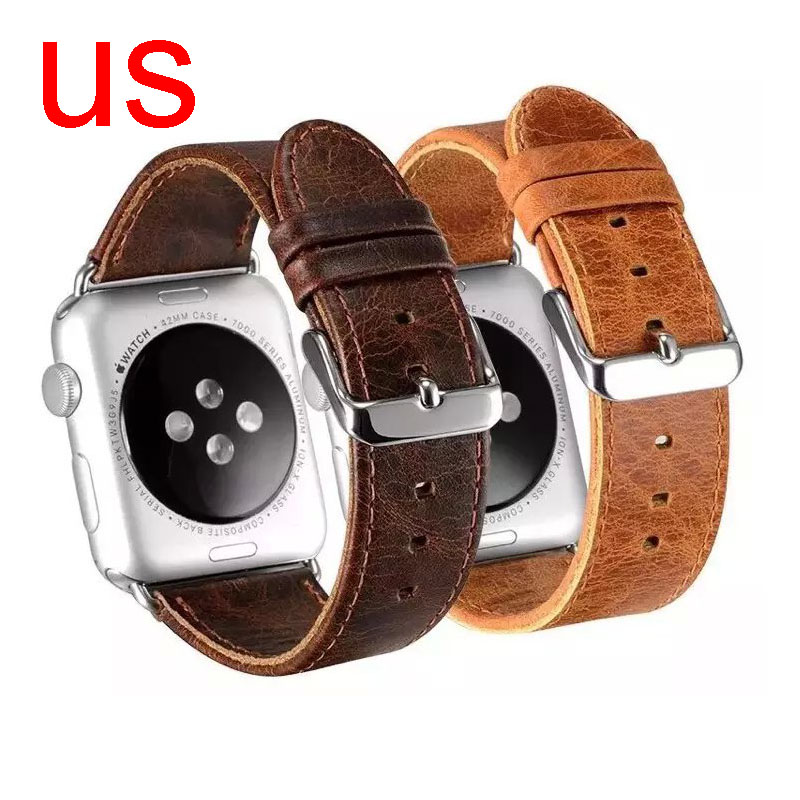 For Apple Watch Band Vintage Genuine Leather Strap Watchband for iWatch Series 1/2 Wristband 42/38mm Retro Brown Coffee Bracelet kakapi crocodile skin genuine leather watchband with connector for apple watch 38mm series 2 series 1 pink
