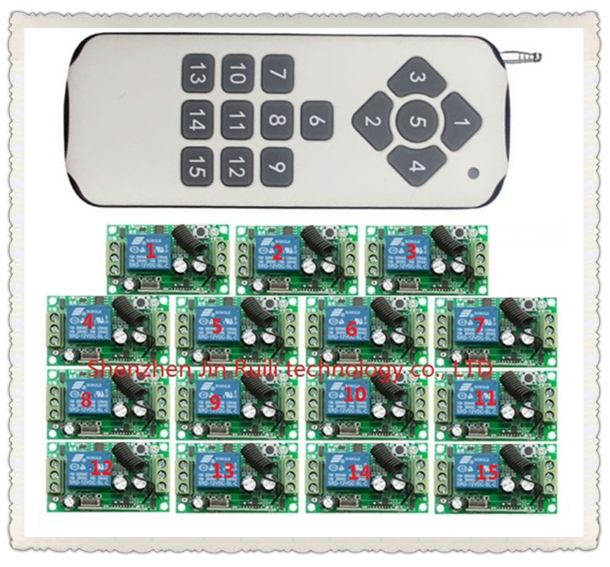 12CH RF Wireless remote control switch system 1pcs (controller) 15CH transmitter +15pcs receiver 12V 10A Toogle Momentary12CH RF Wireless remote control switch system 1pcs (controller) 15CH transmitter +15pcs receiver 12V 10A Toogle Momentary
