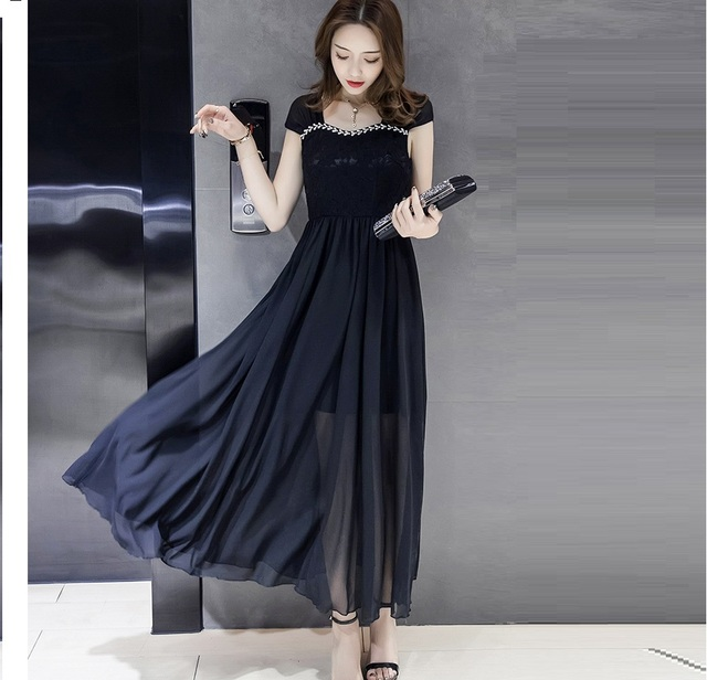80cfeb817bd8 2017Women lace patchwork long chiffon dress empire pinched waist strap  longos vestidos plus size party dress de festa XXXXL18009