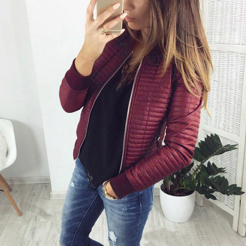 c3e618e9d Autumn Winter O neck Casual Bomer Jacket 2019 Fashion Slim Padded ...