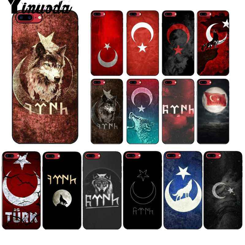 حافظة من Yinuoda برسم تركيا وولف بأثر رجعي لهواتف أبل آيفون 8 7 6 6S Plus X XS MAX 5 5s SE XR
