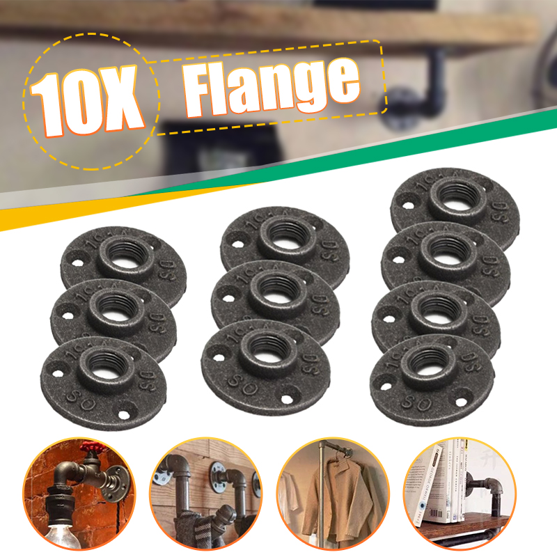 """10X INDUSTRIAL STYLE 1//2/"""" OR 3//4/"""" MALLEABLE IRON PIPE FITTINGS WALL FLOOR FLANGE"""