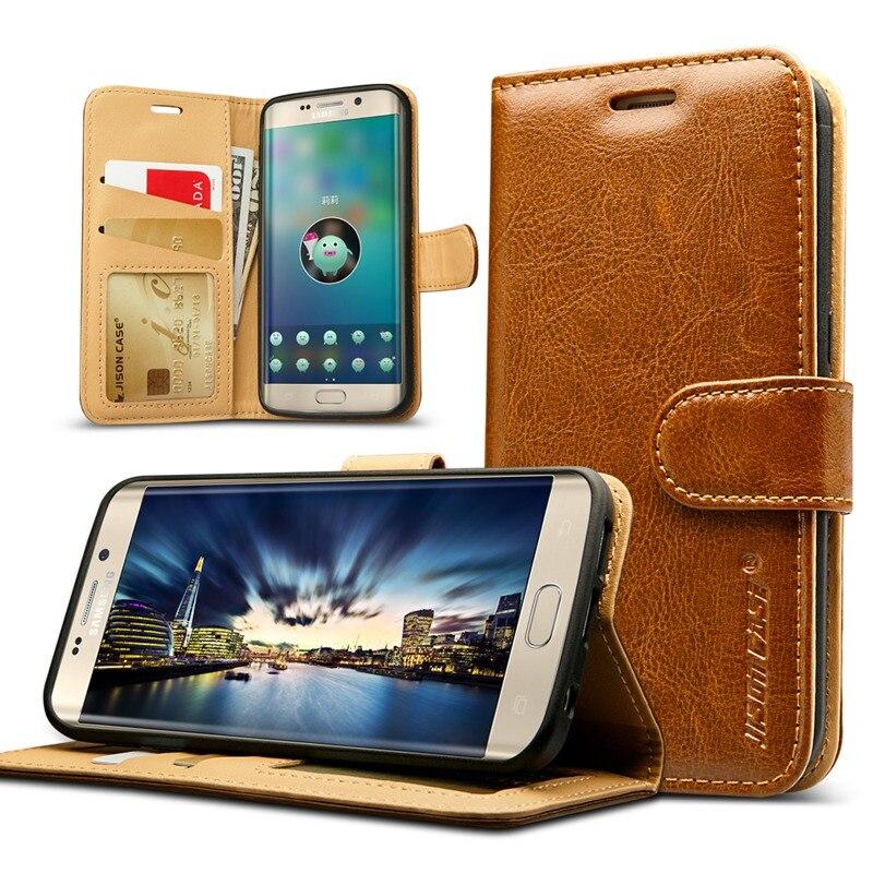 bilder für Jisoncase Mappenkasten Für Samsung Galaxy S7 G9300 S7 Rand G9350 fall Luxus Echtes Leder Handy Geldbörse Tasche Kartensteckplatz w/Magnet