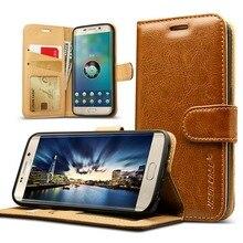 Jisoncase Бумажник Case Для Samsung Galaxy S7 G9300 S7 Edge G9350 Case Роскошные Подлинная Кожа Телефон Кошелек Сумка Карты Слот ж/Магнит