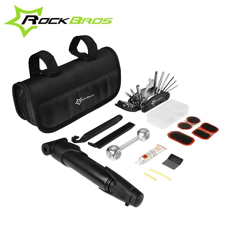 RockBros Portable Multi-function Bike Tools Cycling Bike Tyre Repair Kit Bicycle Tool Bag bleta ferramentas, Easy To Carry Black