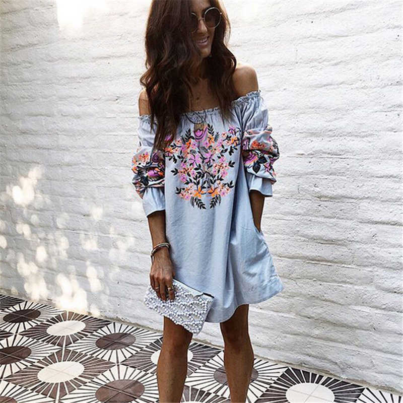 3439e363b74 New Women Off Shoulder Dress Hot Summer Elegant Ladies Loose Dresses Half  Sleeve Slash Neck Floral