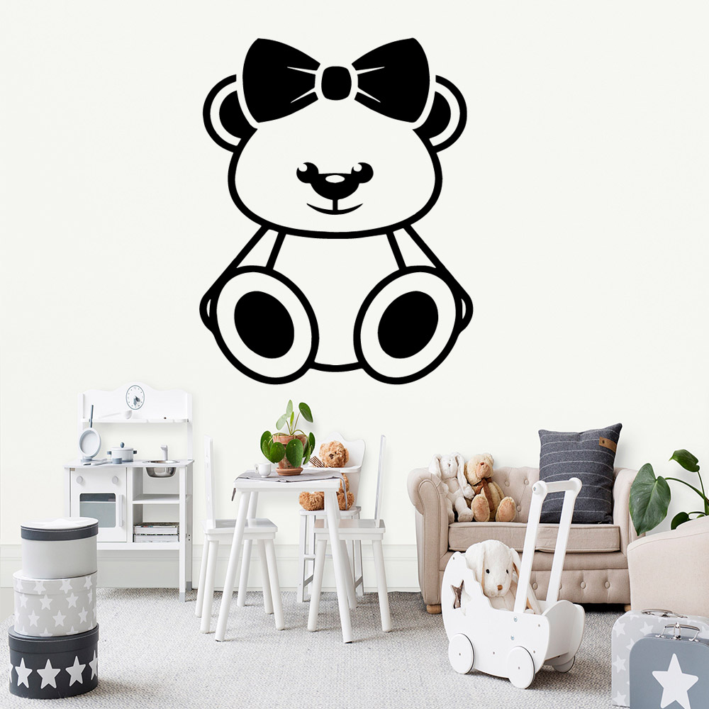 Hot bear Wall Sticker Removable Self Adhesive Watercolo For Kids Room Art Mural Living Room Home Decor Wall Art Decal in Wall Stickers from Home Garden