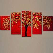 Hand Painted red Canvas Oil Painting Knife tree Canvas Wall Art 5 panel Modern Abstract Living Room Decoration Picture t5p66