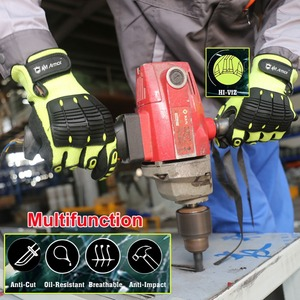 Image 2 - Cut Resistant Safety Work Glove Anti Vibration Anti Impact Oil proof Protective With Nitrile Dipped Palm Glove for Working