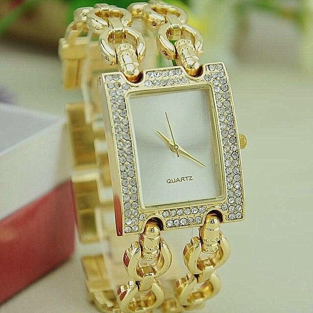 Новый Для женщин металлический браслет часы Caldi двойной Link золотой браслет Кристалл площади наручные часы Reloj Para DAMA Повседневные часы