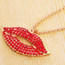Golden Chains Sexy Full Rhinestones Flame Red Lips Pendant Necklaces Female Sweater Chain Necklaces Costume Ornament Gem XL081(China)