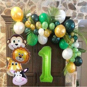 Image 2 - ปาร์ตี้ป่าสัตว์บนโต๊ะอาหารสีเขียวลูกโป่ง Cupcake Toppers Wild First วันเกิดเด็กทารก SAFARI PARTY SUPPLY