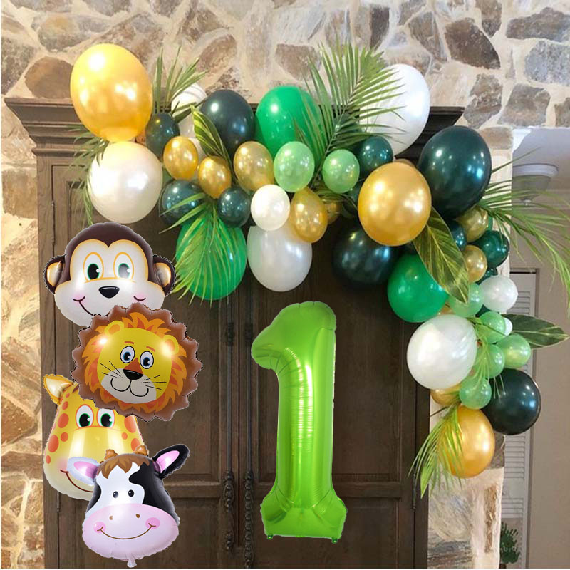 Jungle Party Animal Tableware Green Number Balloons Cupcake Toppers Wild One First Birthday Kids Baby Shower Safari Party Supply