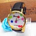 Привлекательный Красочные Кожа Женщины Полька Dot Pattern Кожаный Ремешок Кварцевые Аналоговые Часы Часы Горячие продажи AG14