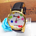 Attractive Colorful Leather Women Polka Dot Pattern Leather Band Quartz Analog Watches Watch Hot sale AG14