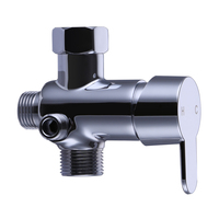 KES Brass T adapter with Shut off Valve 3 Way Diverter Connector for Toilet Tank, Handheld Bidet and Bath Faucet Chrome, K1019