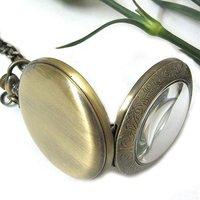 Brąz Lupa Mechaniczny Zegarek Kieszonkowy Xmas Prezent