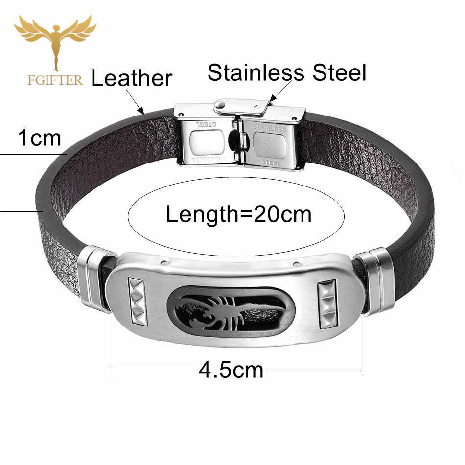 Punk Scorpion Bracelet Mens Leather Bracelets High Quality Stainless Steel Leather Jewelry for Men Accessory Rock Male Bangles