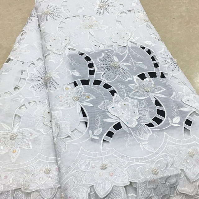 High Quality Swiss Voile Laces Switzerland Cotton African Dry Cotton Lace Fabric 2018 White Nigerian Voile Lace 5yards PSA4-2