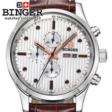Original Binger Army watch special waterproof luminous men sports Dual Time Brown Leather Quartz wristwatch Multifunction Watch