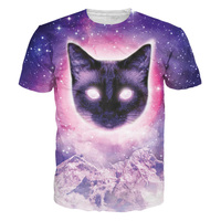 New Arrive 3D Galaxy Space Printed Cat T Shirt Men Women O Neck Fashion Casual T
