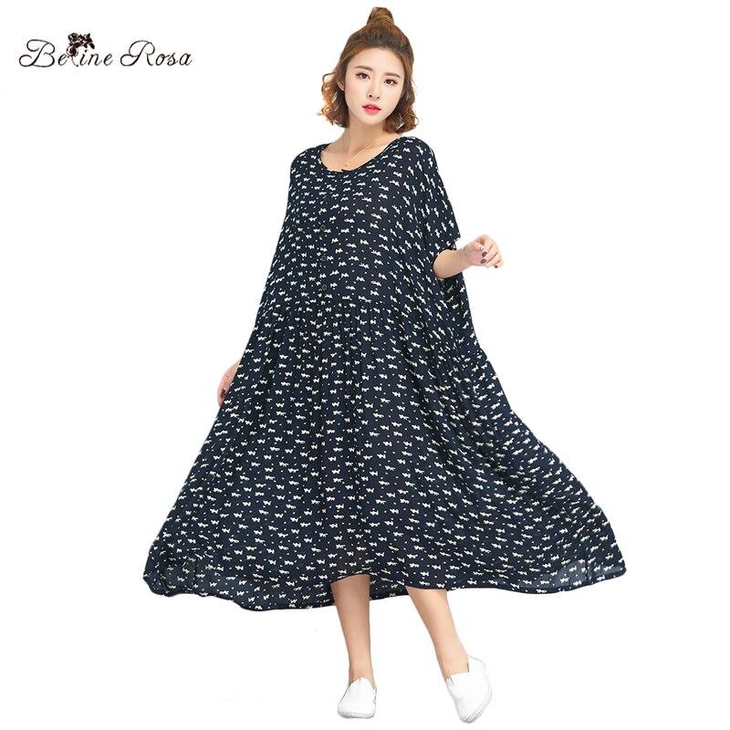 BelineRosa 2018 Femmes de Plus La Taille Des Vêtements D'été Doux Chat de Bande Dessinée Impression Robe Noire en Grandes Tailles 4XL 5XL 6XL TYW00769