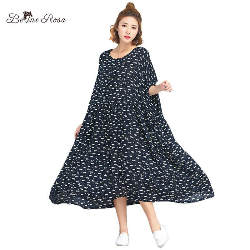 Летнее платье BelineRosa, укрась котом с принтом мультфильмов,  большие размеры ,TYW00769, размер 50 52 54 56 58 60