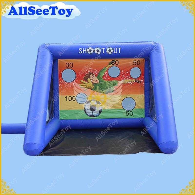 Porte gonflable bleue de football, jeu Commercial de Sports dutilisationPorte gonflable bleue de football, jeu Commercial de Sports dutilisation