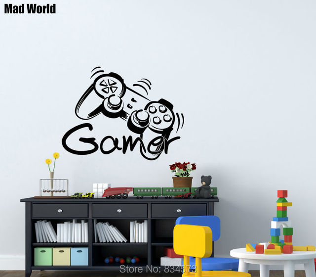 Mad World Game Controller Gamer Game Zone Wall Art Stickers Wall Decal Home  DIY Decoration
