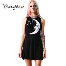 women dress Punk style moon star print dress harajuku black 2017 new summer fashion
