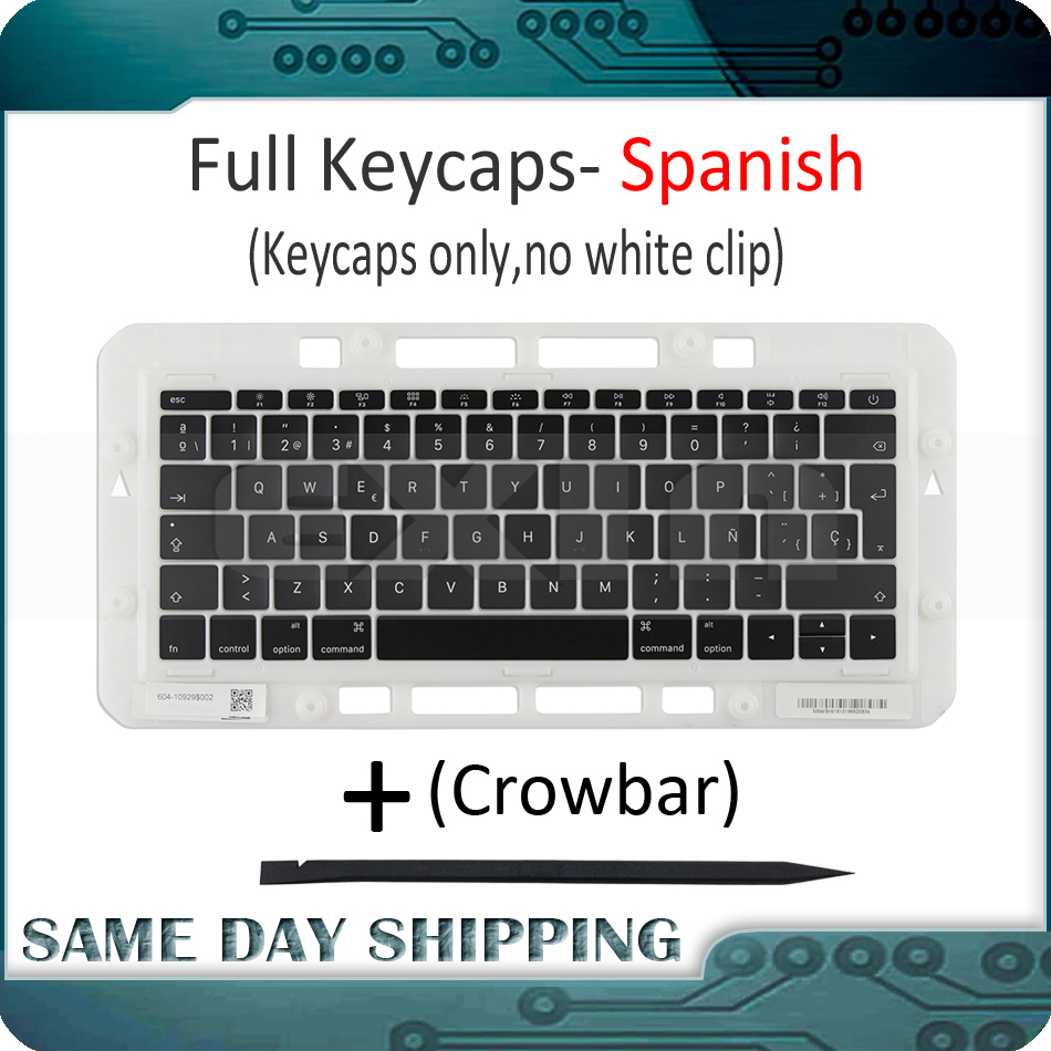 Laptop A1706 A1707 A1708 Spanish Spain Keyboard Key Cap for Macbook Pro Retina 13 15 Keys Keycaps Late 2016 Mid 2017 image