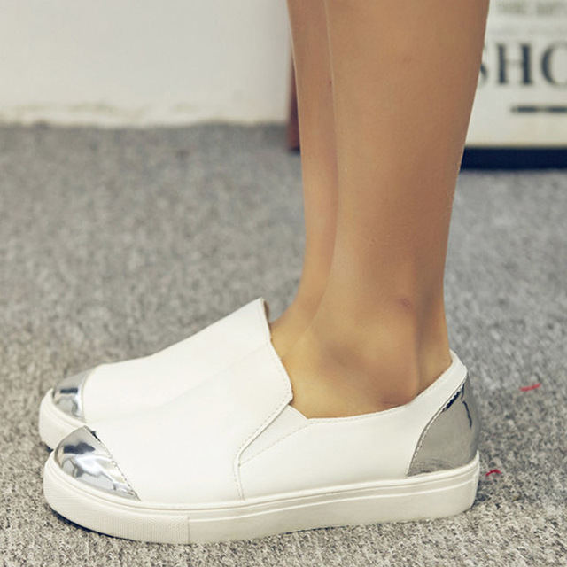 European American fashion women shoes gold/silver mixed color loafers casual design flats slip on leather shoes woman