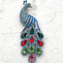 Wedding party jewelry brooch Rhinestone Peacock Pin brooches C250 E
