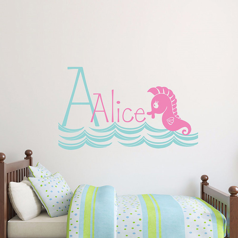 Kids Baby Bedroom Decoration Cartoon Little Seahorse Custom Name Personalized Wall Sticker Cute Decals W339