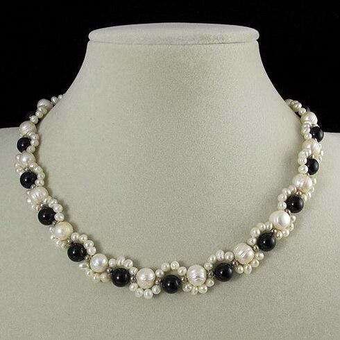 Bijoux perles uniques, 45 cm AA 3-8 MM fait à la main noir Agates blanc collier de perles d'eau douce, cadeau de charme pour femmes
