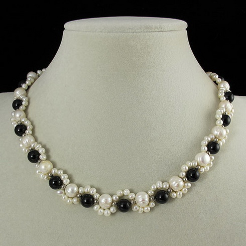 Unique Pearls jewellery Store,45cm AA 3-8MM Handmade Black Agates White Freshwater Pearl Necklace,Charming Women Gift