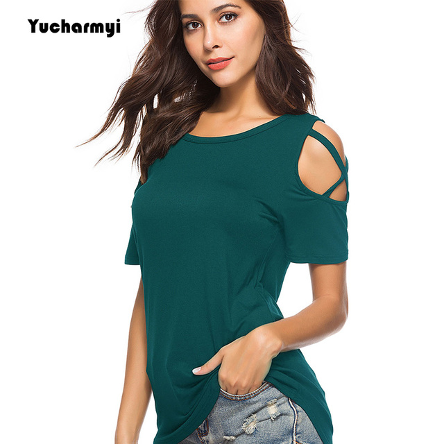 6952d28770 Womens Shirt Strappy Casual Crisscross Cold Shoulder Short Sleeve Summer Trendy  Tops Juniors Scoop Neck Tee Shirt