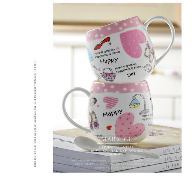 430ML, Bone china tumbler mug for coffee, cute girl painting, tazas zakka cups and mugs, frozen anime cup, coffee self mug 1