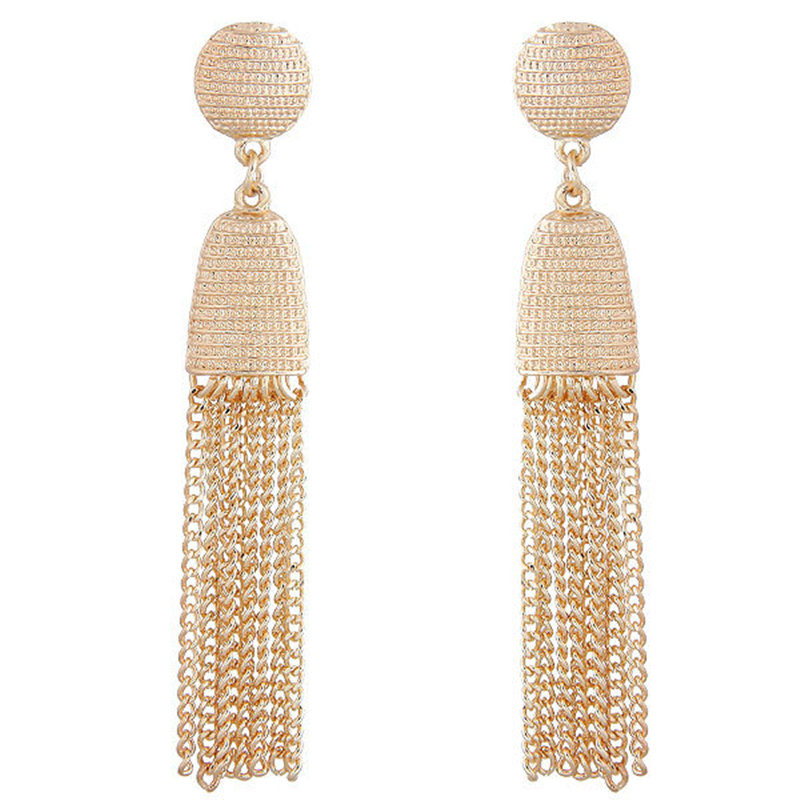 Vintage alloy Ethnic Long Tassel Earrings for Women 2018 Fashion Jewelry Geometric Alloy Plating Simple Dangle Drop Earrings