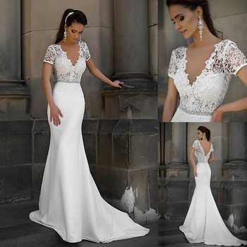 Junoesque Lace & Satin V-neck Neckline Mermaid Wedding Dresses With Bowknot Short Sleeves Bridal Dresses - DISCOUNT ITEM  0% OFF All Category