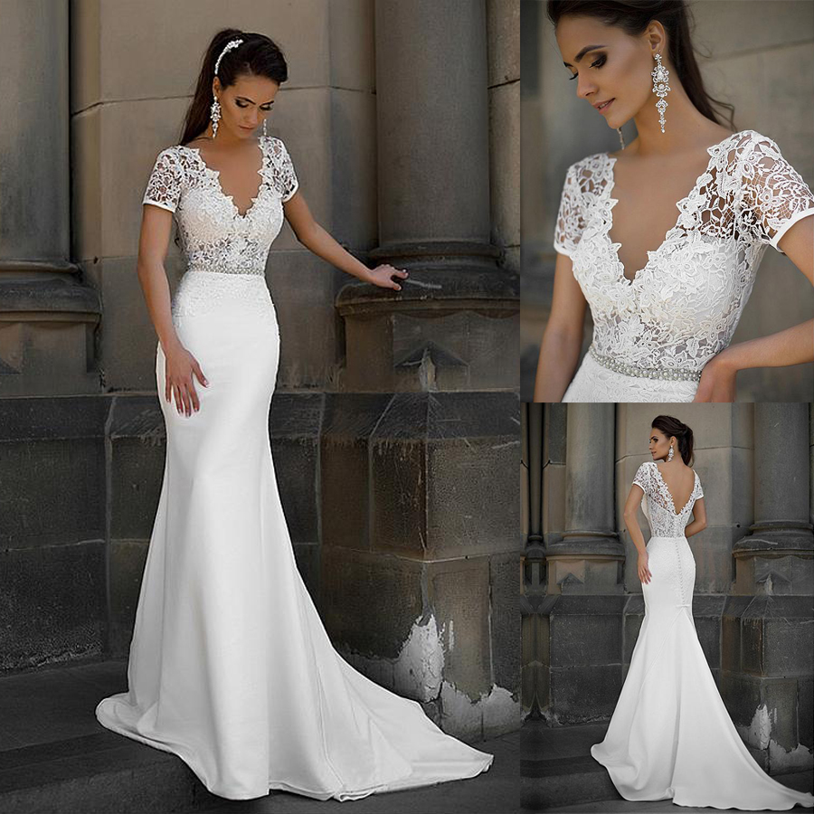 Junoesque Lace & Satin V neck Neckline Mermaid Wedding Dresses With Bowknot Short Sleeves Bridal Dresses
