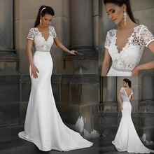 Junoesque laço & cetim decote em v vestidos de noiva sereia com bowknot mangas curtas vestidos de noiva