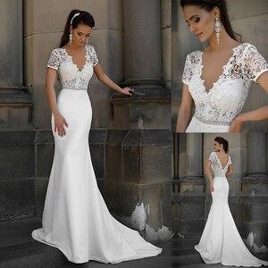 Image 1 - Junoesque laço & cetim decote em v vestidos de noiva sereia com bowknot mangas curtas vestidos de noiva