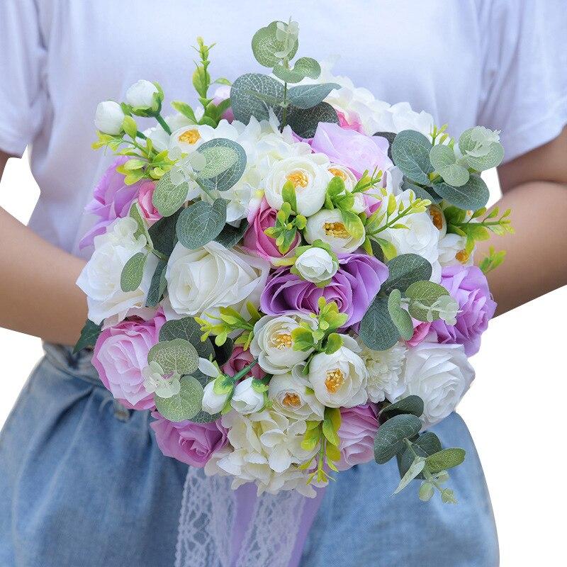 Bouquet de mariage Bouquet de mariée ruban mariée tenant fleur Rose demoiselle d'honneur mariage fleurs en mousse Rose 617 - 4