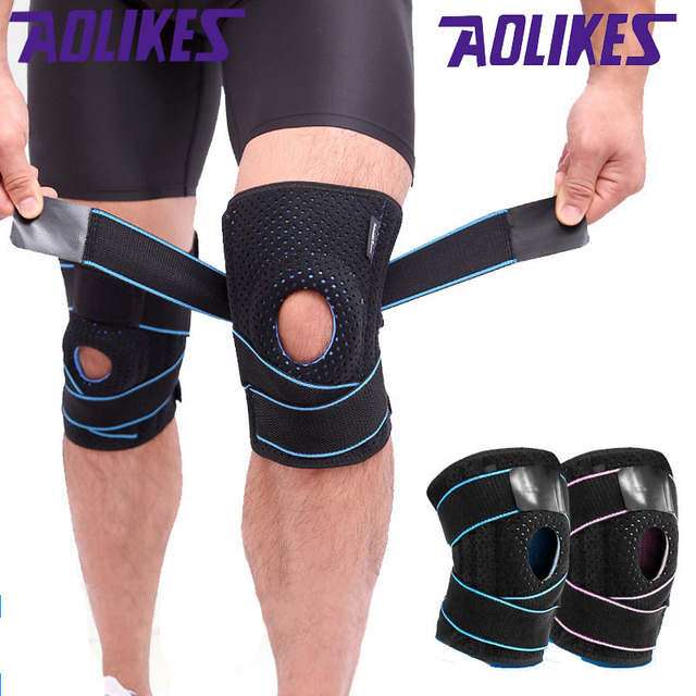58f8adc085 AOLIKES 1PCS Adjustable Bandage Pressurization Silicone Knee Pads Elastic Knee  Brace Support Basketball Hiking Knee Protector