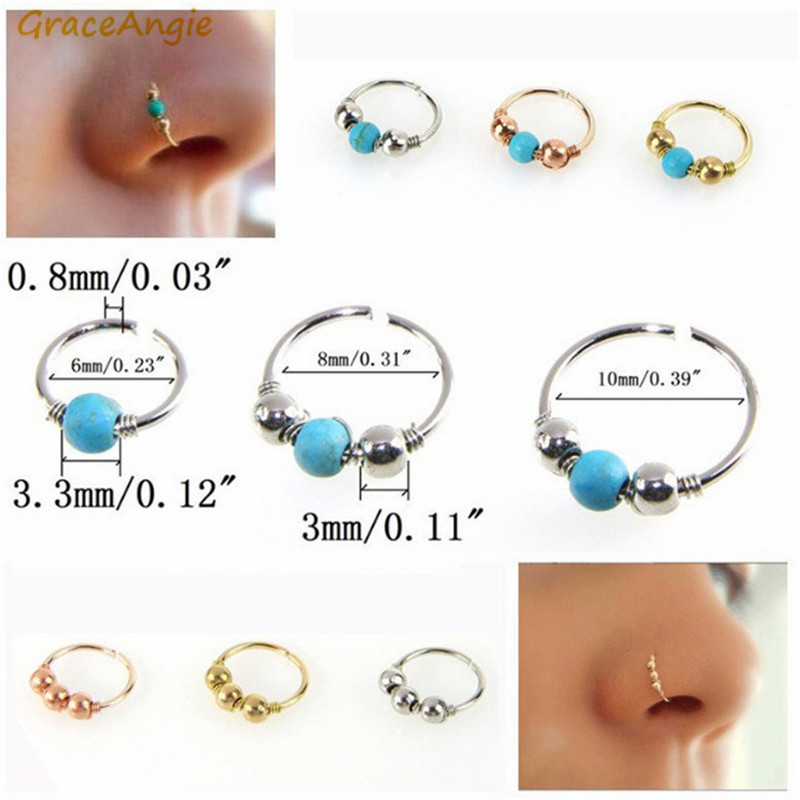 Graceangie 1pc Brass Blue Natural Stone Body Jewelry Nose