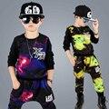 Дети хип-хоп одежды 2016 новых осень детская хлопок спортивные костюмы мальчика с длинными рукавами из двух частей одежда костюмы для мальчиков костюмы